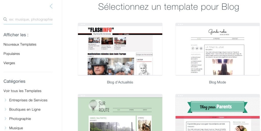 templates blog wix
